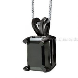 black diamond emerald cut pendant