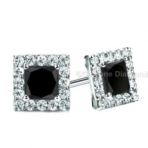 princess cut black diamond halo earrings 14k white gold