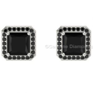 princess cut black diamond halo earrings sale