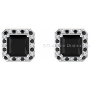 princess cut black diamond halo earrings online