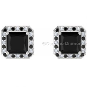black princess cut diamond halo earrings
