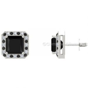 princess cut diamond halo stud earrings