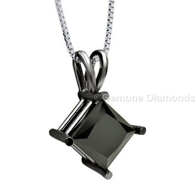 princess cut solitaire pendant