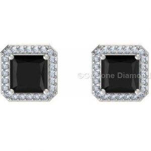 princess cut black diamond halo stud earrings