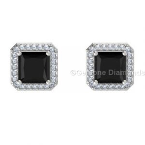 3 carat halo diamond earrings princess cut