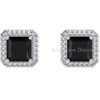 4 00 Carat Natural Black Diamond Princess Cut Halo Stud Earrings In 14k White Gold 3