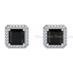 natural black diamond halo stud earrings
