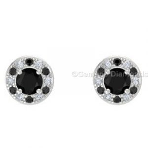 combination of black and white accent halo earrings