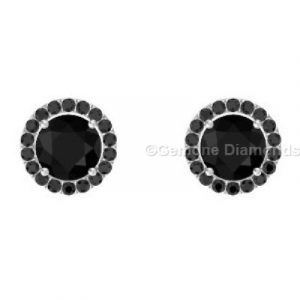 pretty halo stud earrings with black accents