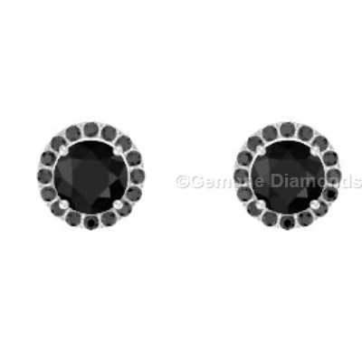 round brilliant cut diamond halo stud earrings