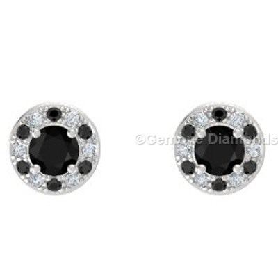round brilliant cut halo stud earrings