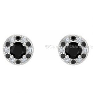 2 carat halo stud round shaped earrings