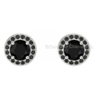 round brilliant cut diamond halo earrings online