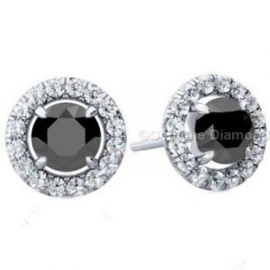 2 Carat Black Diamond Earrings Halo Setting With White Diamonds Around The