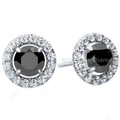 2 Carat Black Diamond Earrings Halo Setting With White Diamonds Around The Round Cut Gold And