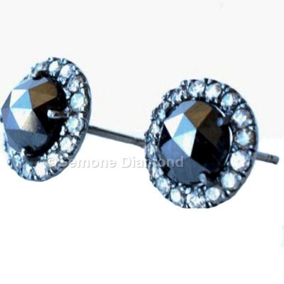 Gorgeous 3 Carat Black Diamond Round Shaped Rose Cut Halo Earrings Brilliant 2 As The