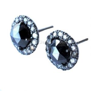 rose cut diamond halo earrings