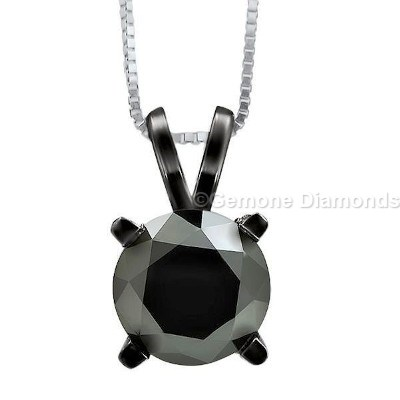 Solitaire diamond pendant from gemone diamonds for him and her 350 carat round shape natural black diamond superb solitaire diamond pendant with 14k white gold beautiful 3 carat black round diamond solitaire pendant aloadofball Image collections