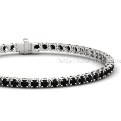 Tennis Bracelet Black Diamond 6 52 Carat In 14k White Gold 3 50 Princess Cut Halo Earrings With And Accents14 40