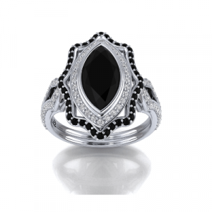 marquise cut black diamond engagement ring
