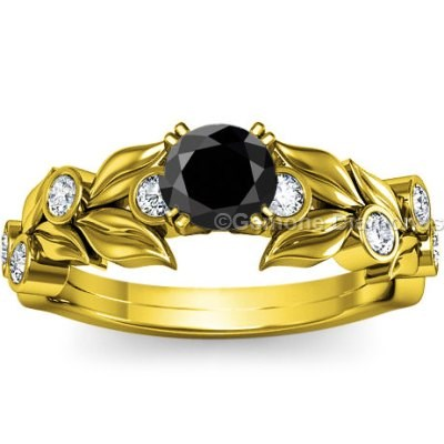 beautiful black diamond ring yellow gold