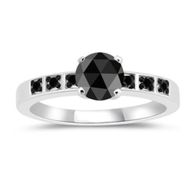 natural rose cut black diamond ring