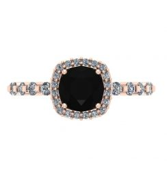 black diamond Rose gold engagement ring
