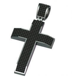 black diamond cross pendant