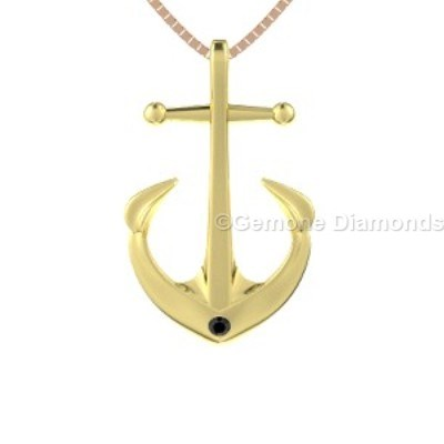 black diamond anchor pendant
