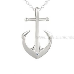 white gold diamond anchor necklace