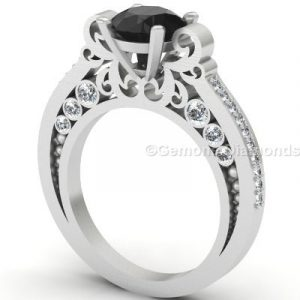 engagement ring black and white diamond