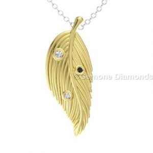 yellow gold feather pendant