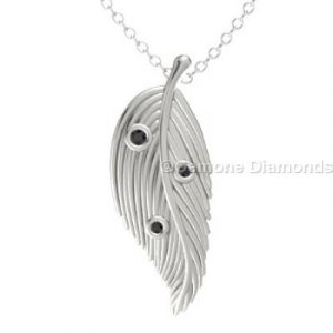 white gold feather pendant