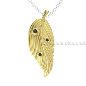black diamond feather pendant
