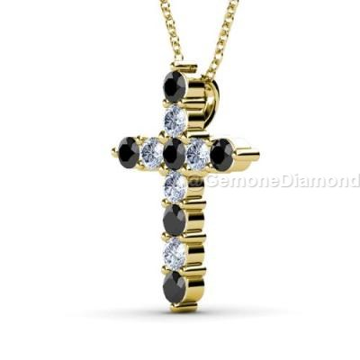 black and white diamond cross necklace