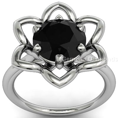 black diamond engagement ring flower design