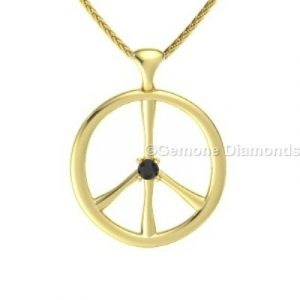 black diamond peace sign pendant