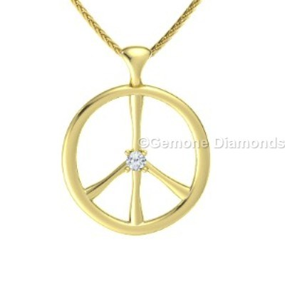 diamond peace sign necklace pendant