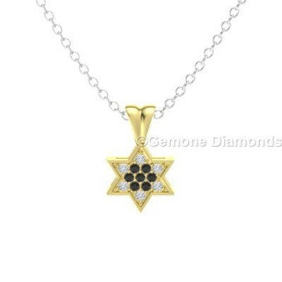 14k yellow gold star of david pendant for christmas sale online 14k yellow gold star of david pendant with black and white diamonds pendant star of david with black and white diamonds in 14k white gold aloadofball Images