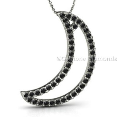 white gold crescent moon pendant