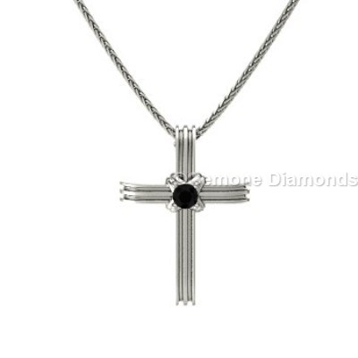 black diamond cross pendants
