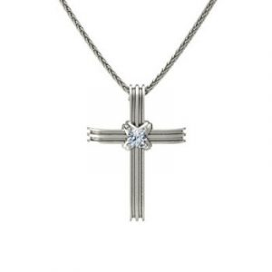 white diamond cross necklace