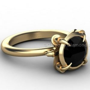 engagement ring with black diamond as center stone