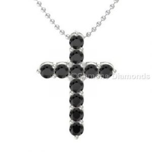 full black diamond cross necklace in 14k white gold