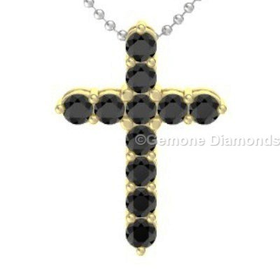 Yellow gold cross pendant for christmas gift online at wholesale price 14k yellow gold cross pendant with natural black diamonds full black diamond cross necklace in 14k white gold and white diamond cross necklace aloadofball Choice Image