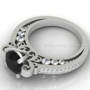 engagement ring with black and white diamond