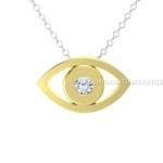 yellow gold evil eye pendant
