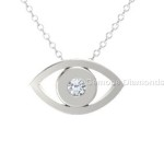 white gold evil eye pendant