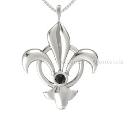 Black diamond fleur de lis pendant in 14k white gold for sale online jet black diamond fleur de lis pendant in 14k white gold 2 ct 125 135 mm i12 clarity gh color brilliant natural white loose diamonds lot3 ct 125 aloadofball
