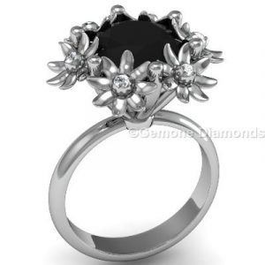 floral engagement ring in 14k white gold